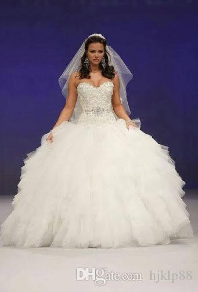 2015 New Arrival Sexy Sweetheart Ball Gown Wedding Dresses Beaded Sash Applique Fluffy Tulle Gowns Princess Dress