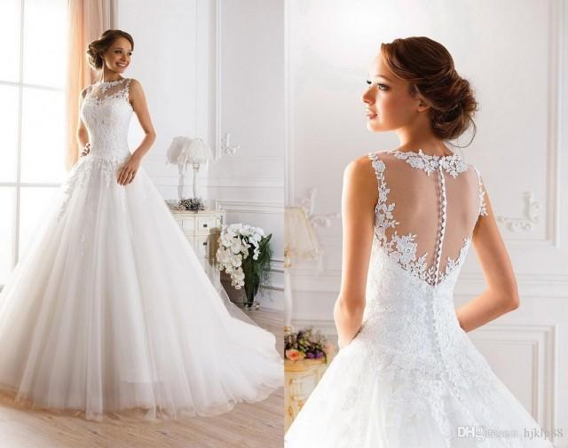 Lace Ball Gown Wedding Dresses: 2015 Sexy Illusion Jewel Neckline A-Line Sheer Wedding