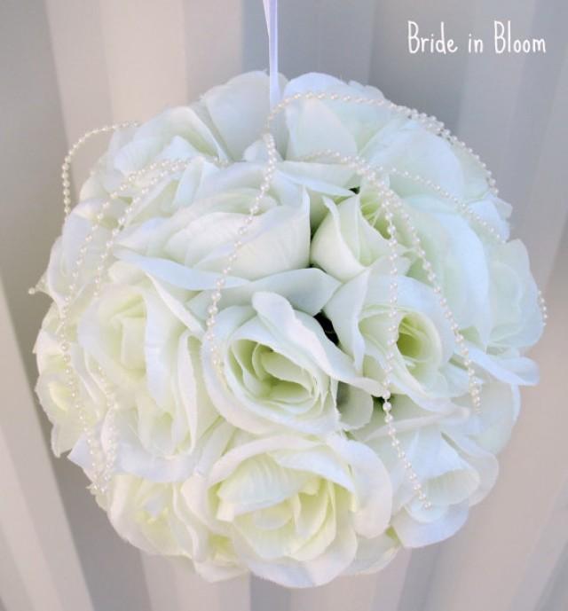 Wedding Pomander Wedding Flower Ball Flower Girl Kissing Ball White ...