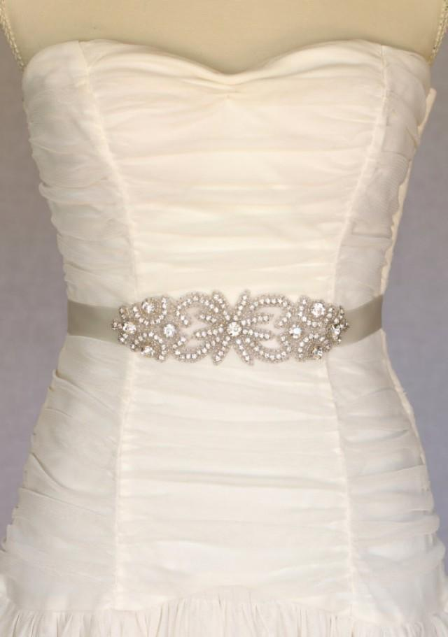Bella bridal sash bridal belt wedding dress sash for Wedding dress sash with rhinestones