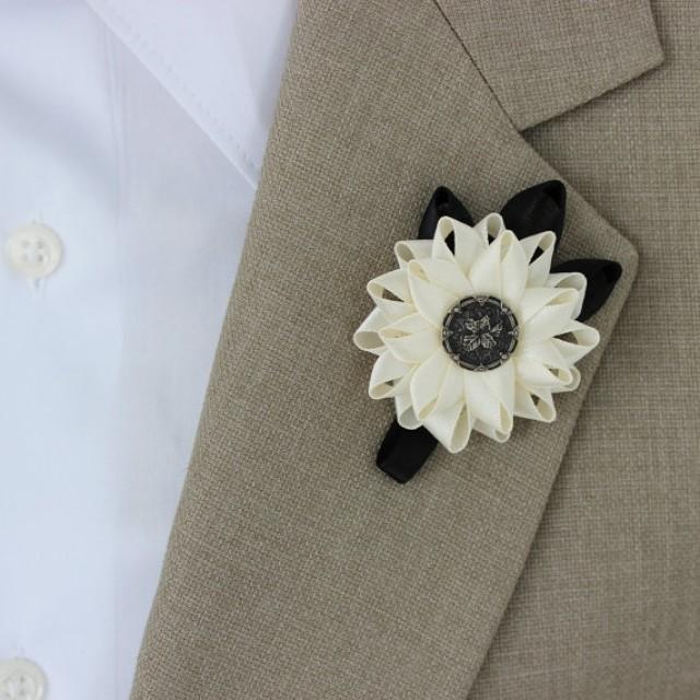 Wedding Flowers Men: Mens Boutonniere, Grooms Flower, Mens Lapel Flower, Mens