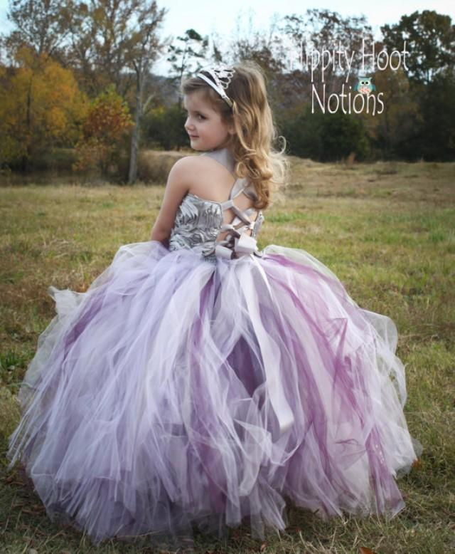 Purple and silver flower girl dresses