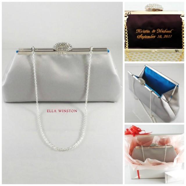 Bridesmaid Gift Clutch Blue Jewel And Platinum Grey