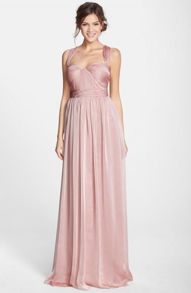 Ml monique lhuillier shirred lace dress