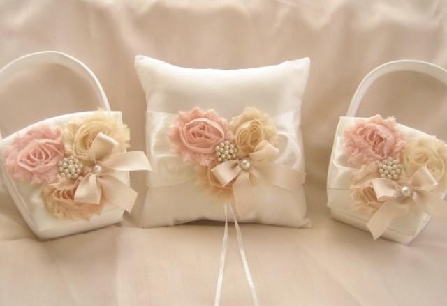 Flower Girl Basket Blush : Two flower girl baskets and pillow blush rose blossom