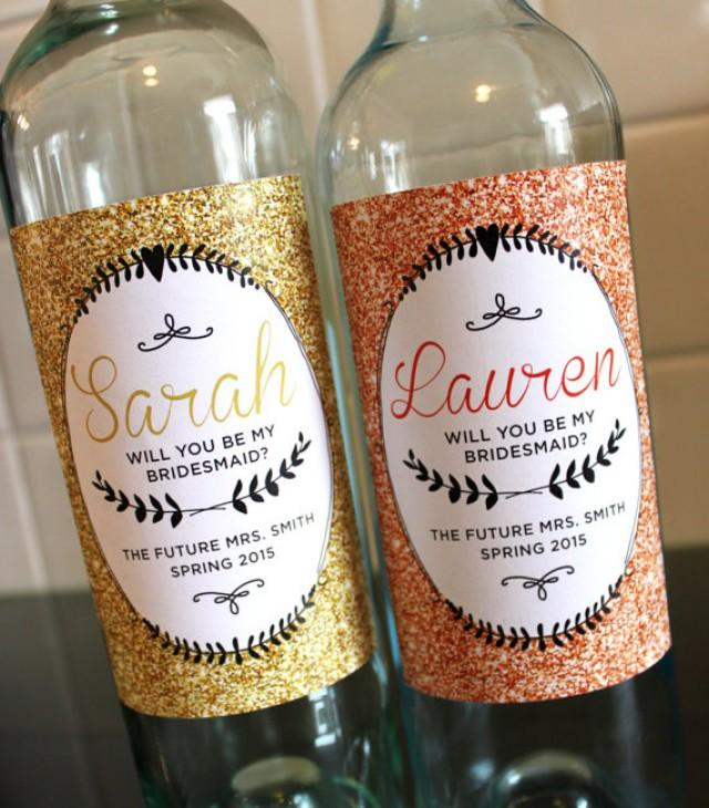 wedding party wine labels bridesmaid wine labels sparkle 2239143 weddbook. Black Bedroom Furniture Sets. Home Design Ideas
