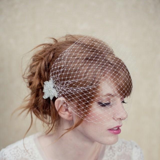 Birdcage Veil Bandeau Veil Bead Accents Russian Netting Blusher Wedding Headpiece Bridal
