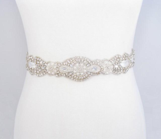 rhinestone pearl bridal belt satin ribbon wedding