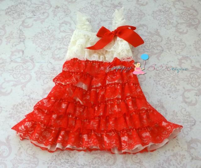 wedding photo - Baby Valentine's dress, Ivory Red Lace Dress,baby girls dress,ruffle dress,baby dress,Birthday outfit,flower girl dress, Valentines, Toddler