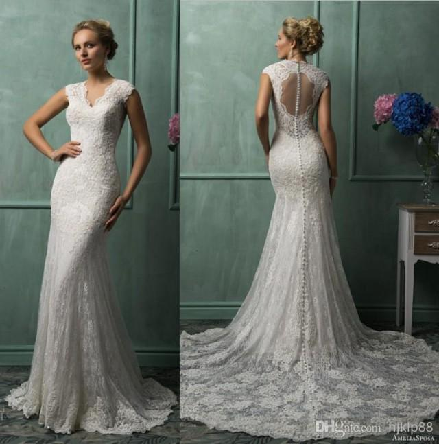 2014 New Sexy V-Neck Lace/Applique Backless Mermaid ... - photo #49