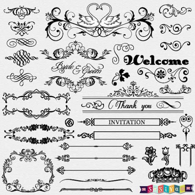 Instant download vintage ornament flower calligraphy for Wedding ornaments