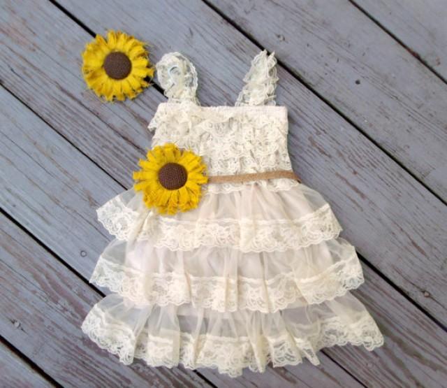 Sunflower flower girl dress sunflower wedding sunflower for Sunflower dresses for wedding