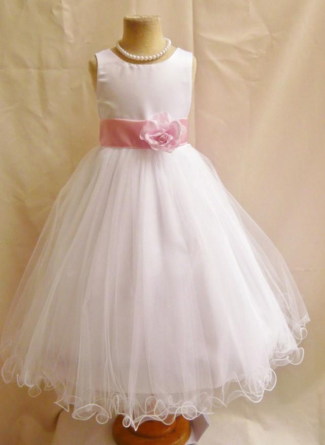 Flower Girl Dresses - WHITE With Pink Light (FD0FL) - Wedding ...