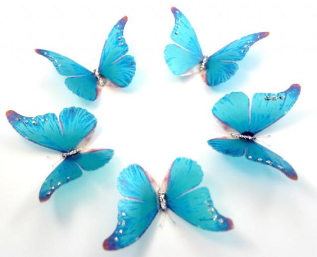 50 sky blue stick on butterflies wedding cake toppers for 3d butterfly decoration
