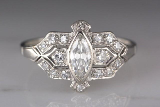 Antique 1920s Post Edwardian Art Deco Platinum