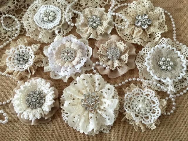 wedding photo - wedding shabby or rustic lace handmade flowers with rhinestone centers