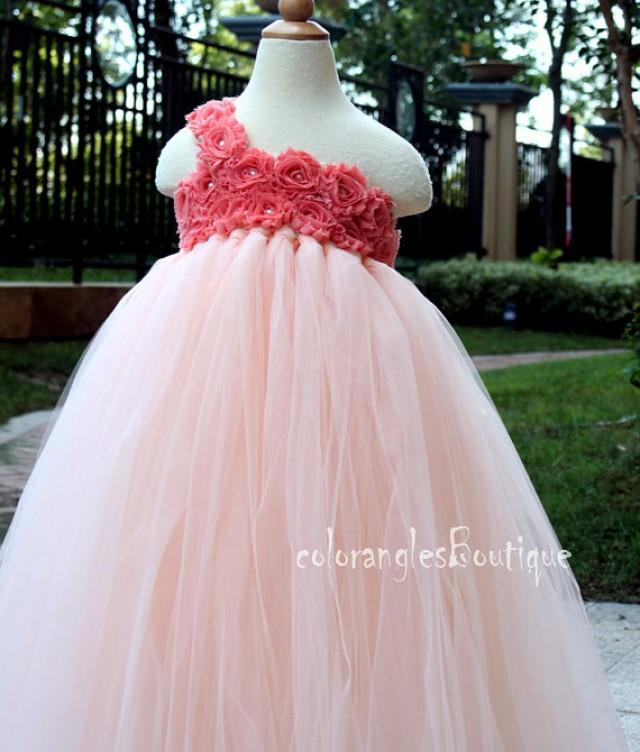 Flower Girl Dress Peach Coral Tutu Dress Baby Dress