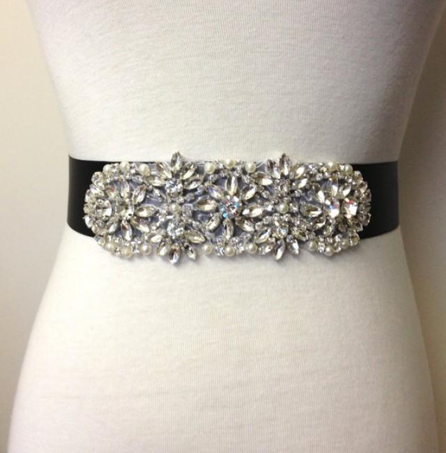 Evening sash black sash bridal sash rhinestone sash for Sparkly belt for wedding dress