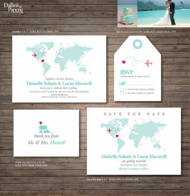 Destination Wedding Invitation Printables Beach Wedding Map Invitation Customized DIY Wedding