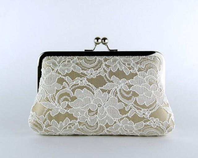Bridesmaid Clutch Lace Silk Clutch In Ivory And Beige Wedding Clutch Wedding Bag Bridal ...