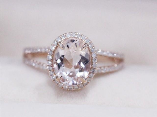 VS 7x9mm Oval Morganite Ring Solid 14K Rose Gold Morganite Wedding Ring Diamo