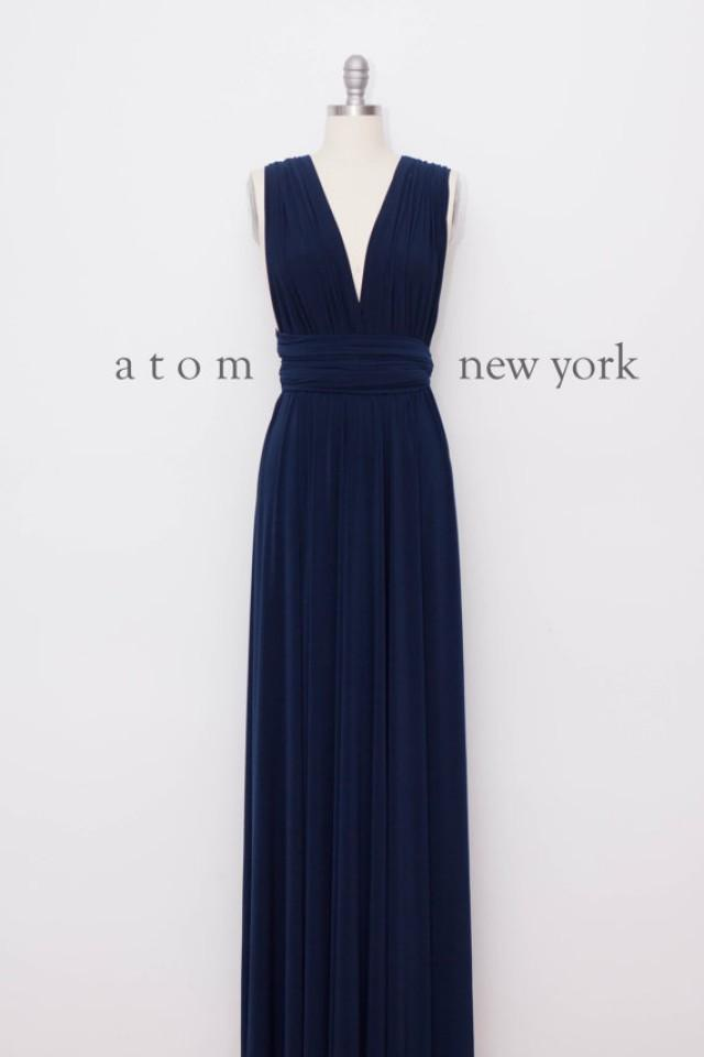 Navy blue floor length ball gown long maxi infinity dress for Navy blue maxi dress for wedding