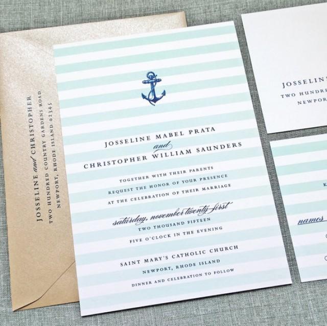 Josseline nautical wedding invitation sample aqua mint for Minted navy wedding invitations