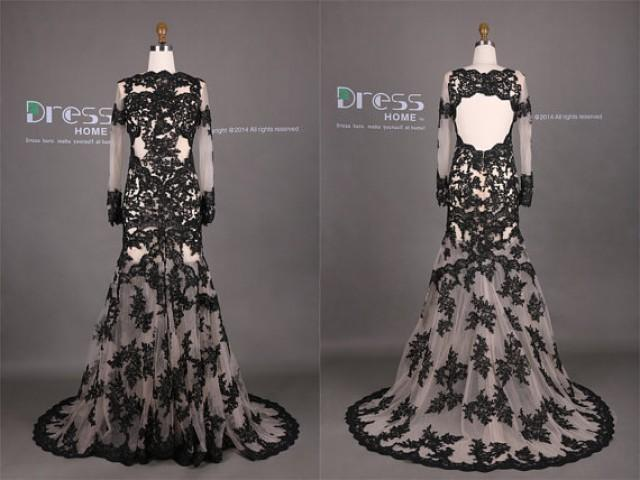 Sexy black lace appliques mermaid wedding dress long for Black mermaid wedding dresses