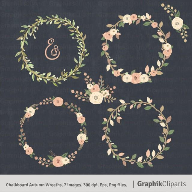 Chalkboard Autumn Wreaths Clipart Floral 7 Images 300 Dpi Eps Png Files Instant Download
