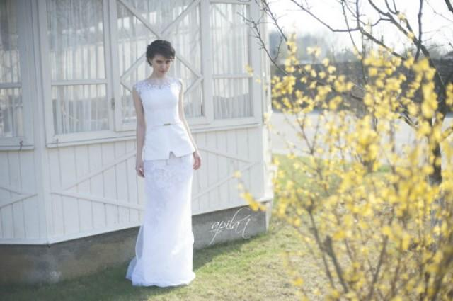 wedding photo - Long Wedding Dress, Crepe, Tulle, Organza and Crepe Wedding Dress with Handmade Embellishments by Lace L11(with long and short skirts)
