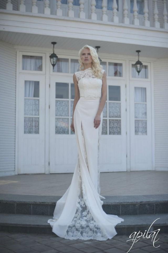 wedding photo - Long Wedding Dress, Ivory Wedding Dress, Crepe and Lace Dress with Train L7