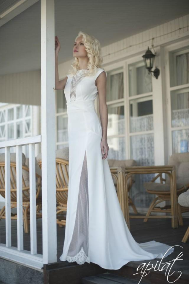 wedding photo - Long Wedding Dress, Ivory Wedding Gown With Open Back, Crepe and Tulle Dress with Handmade Embellishments, Wedding Dress with Train L16
