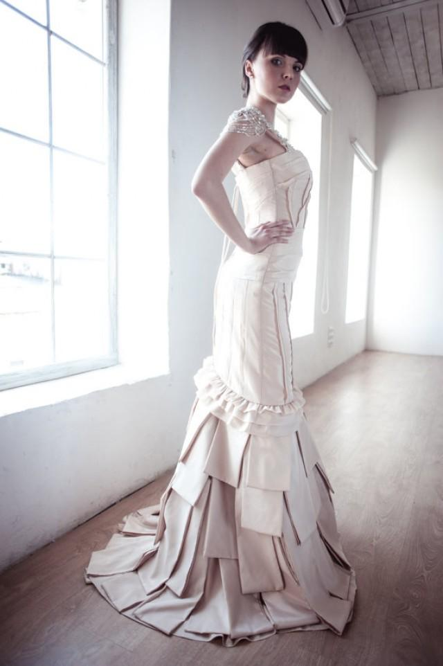 wedding photo - Satin Body Skimming Silhouette Long Wedding Dress M30 long with Puddle train
