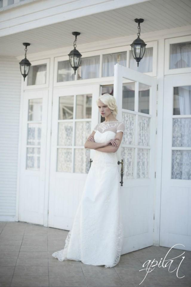 wedding photo - Lace Long Wedding Dress, Long Ivory Wedding Dress, Satin and Lace Wedding Dress , Bridal Dress L8