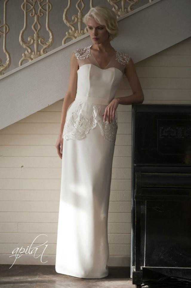 wedding photo - Long Wedding Dress, Ivory Wedding Dress, Crepe and Lace Dress L3(with long and short skirts)