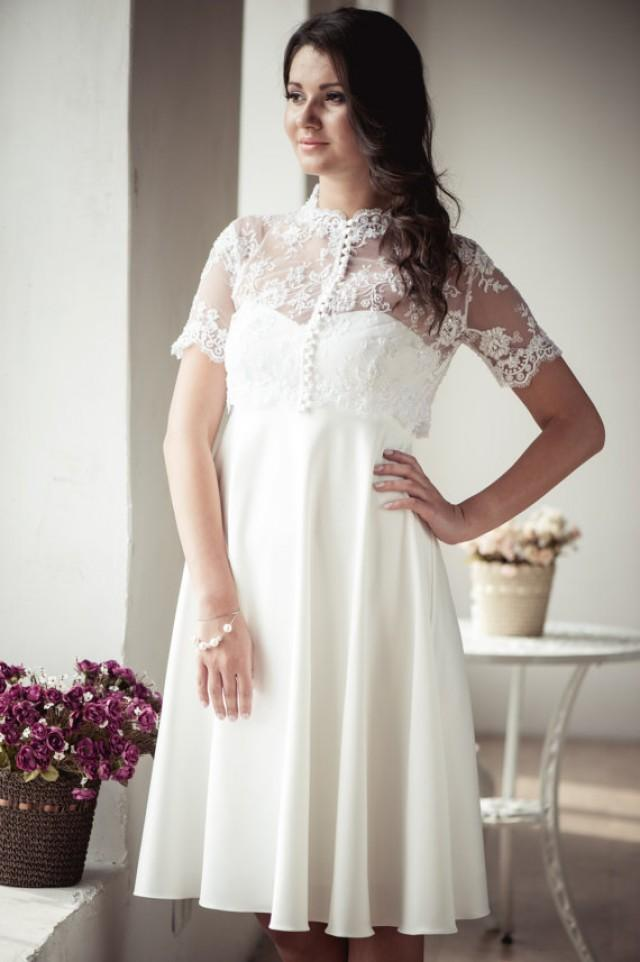 wedding photo - Empire silhouette short wedding dress with lace jacket M22