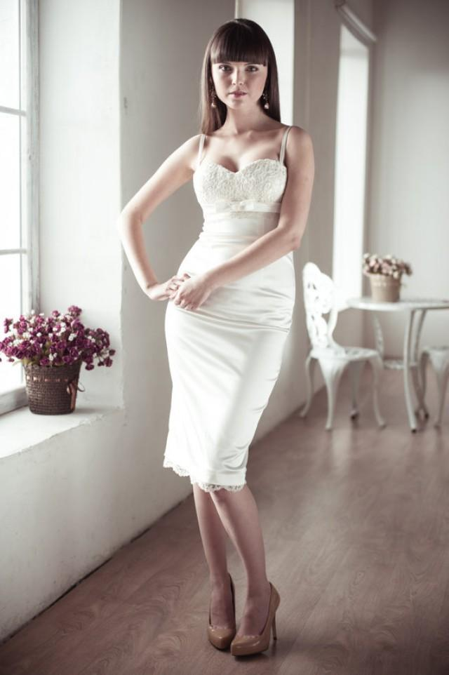 wedding photo - Fitted Style Short Wedding Dress, Satin and Lace Short Wedding Dress, Wedding Gown M13