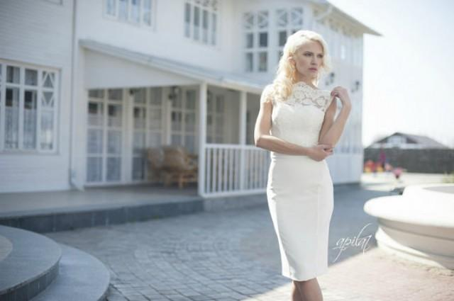 wedding photo - Short Wedding Dress, Ivory Wedding Dress, Crepe and Lace Dress L7