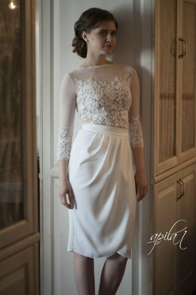 wedding photo - Short Wedding Dress, White and Nude Wedding Dress, Crepe and Lace Dress L10
