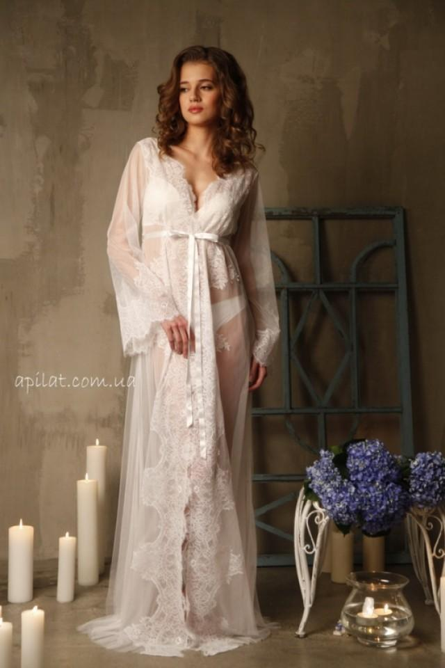 wedding photo - Dressing gown  with lace F-14