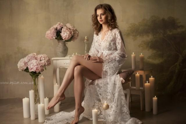 wedding photo - Long lace dressing gown F-3