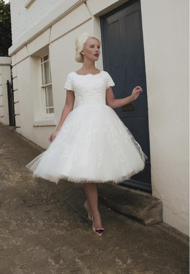 Vintage 2015 house of mooshki short weddding dresses lace for Vintage t length wedding dresses