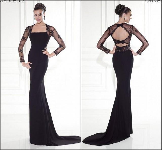2015 Long Sleeve Backless Mermaid Evening Dresses Black Bow Tarik Ediz ...