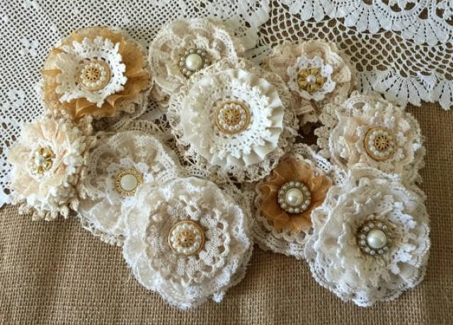wedding photo - wedding shabby lace handmade flowers