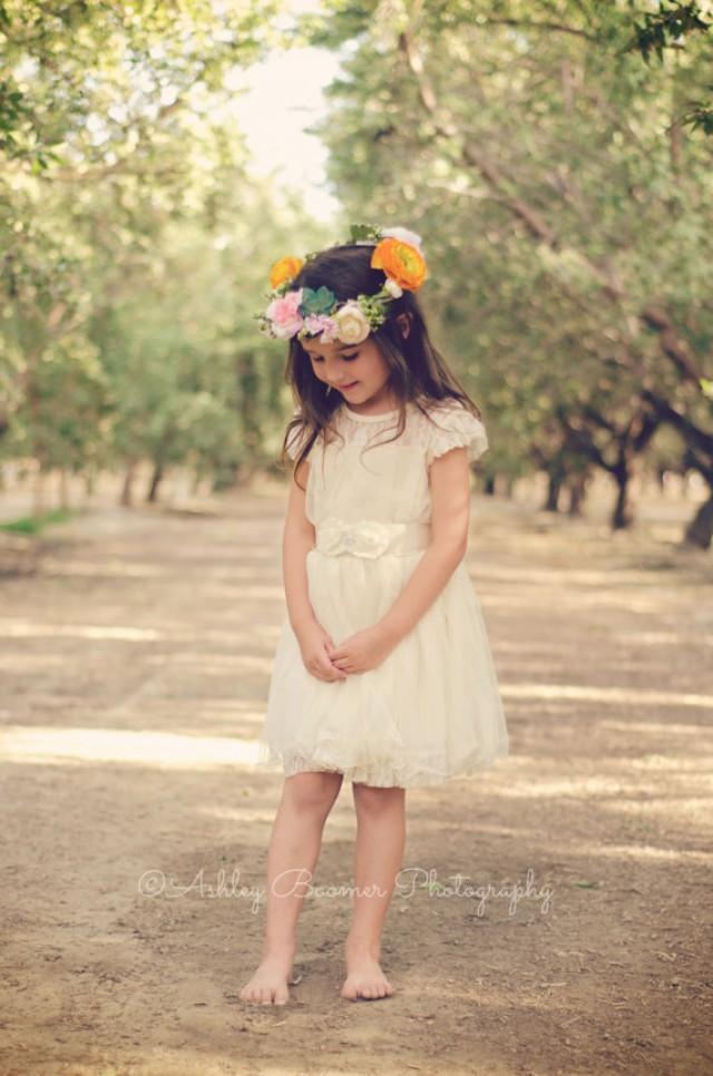 Ivory Lace Toddler Girls Dress Ivory Flower Girl Dress Rustic Flower Girl Dress Wedding