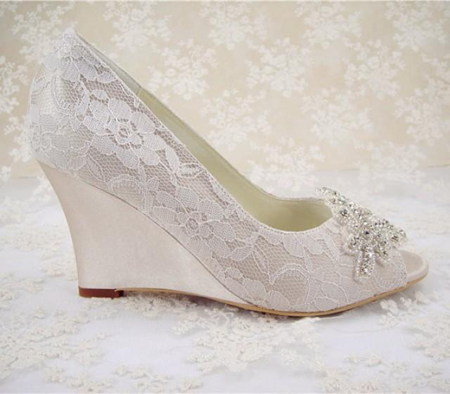 wedding shoes peeptoe bridal shoes rhinestone wedge