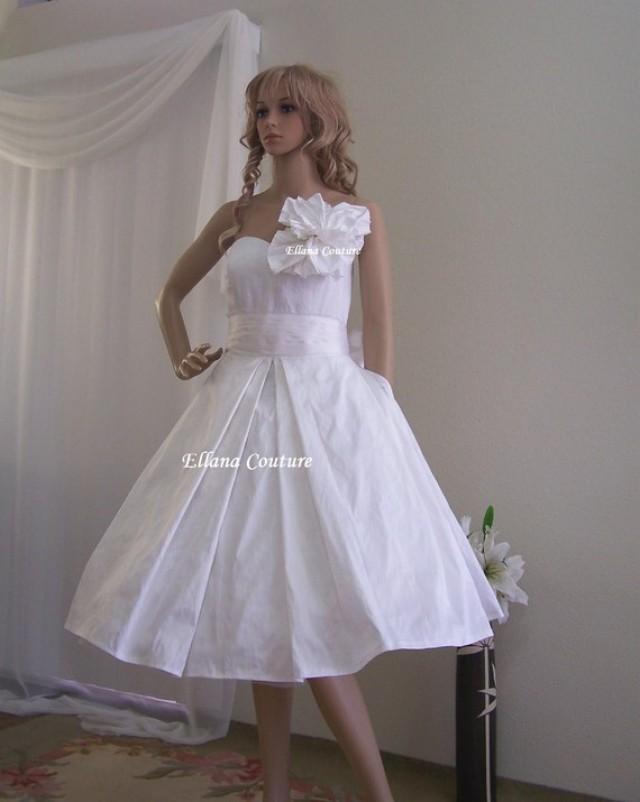 Celeste vintage inspired wedding dress with pockets for Vintage t length wedding dresses