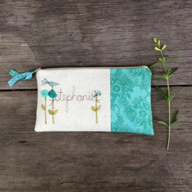 Cottage style wedding clutch mint blue floral for Engravable gifts for her