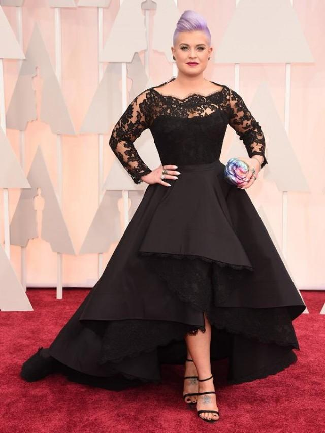 2015 Oscar Kelly Osbourne Celebrity Evening Dresses Sheer Long Sleeve Lace Scallop Black High Low Red Carpet Dresses Party Ball Gown Online With 1145piece On Hjklp88s Store Dhgate on oscar party favor ideas