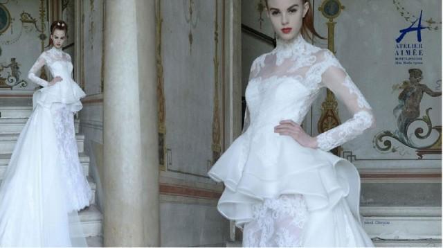 Ruffle Ball Gown Wedding Dress: Long Sleeve Ruffle Wedding Dresses 2015 High Neck Organza
